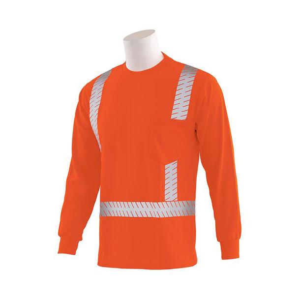 ERB Class 2 Hi Vis Moisture Wicking Orange Long Sleeve T-Shirt with Segmented Reflective Tape 9007SEG-O Left Side