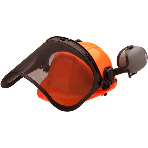Pyramex Ridgeline Orange Forestry Kit with Cap Style Hard Hat Face Shield and Earmuff FORKIT41 Mask Up