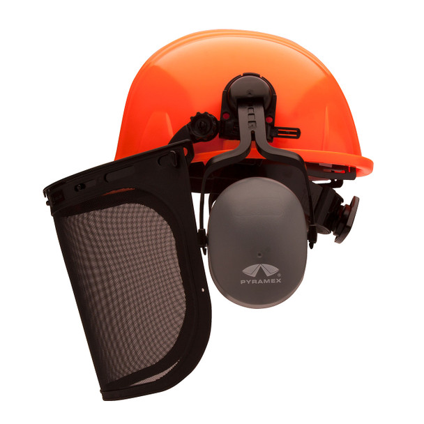 Pyramex Ridgeline Orange Forestry Kit with Cap Style Hard Hat Face Shield and Earmuff FORKIT41 Mask Profile