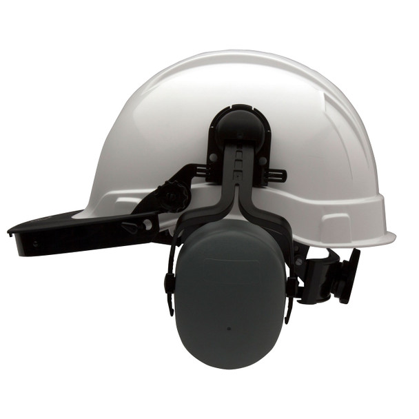 Pyramex Ridgeline Cap Style Hard Hat Face Shield Adapter HHABCMR Profile with Ear Muffs