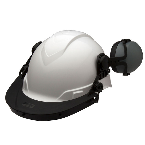 Pyramex Ridgeline Cap Style Hard Hat Face Shield Adapter HHABCMR with Ear Muffs Up