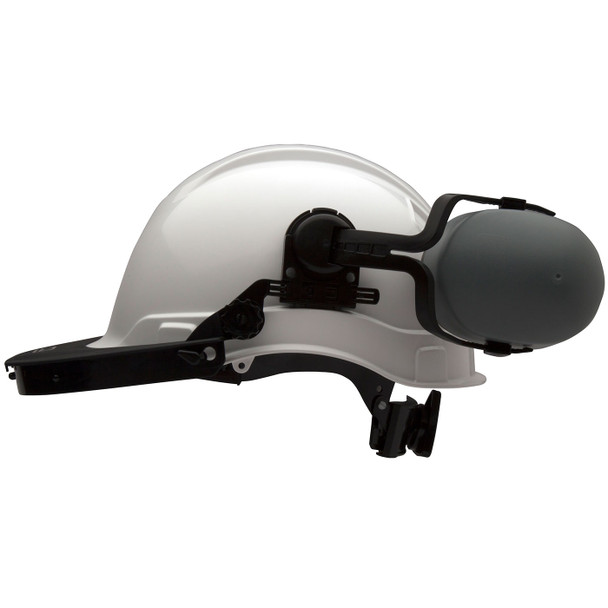 Pyramex Ridgeline Cap Style Hard Hat Face Shield Adapter HHABCMR Profile with Ear Muffs Up