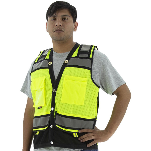 Majestic Class 2 Hi Vis Yellow Heavy Duty Surveyors Vest with Contrasting Trim 75-3237 Front