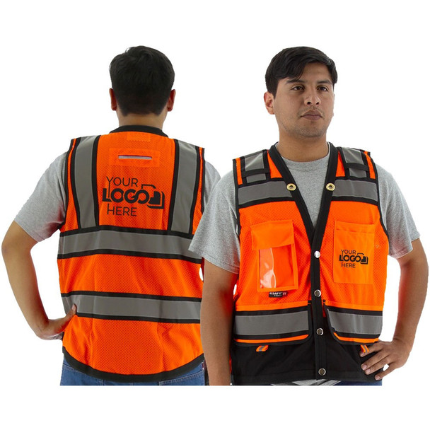Majestic Class 2 Hi Vis Orange Heavy Duty Surveyors Vest with Contrasting Trim 75-3238 Back with Printing Areas