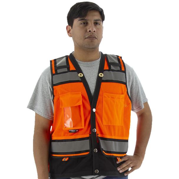 Majestic Class 2 Hi Vis Orange Heavy Duty Surveyors Vest with Contrasting Trim 75-3238 Front