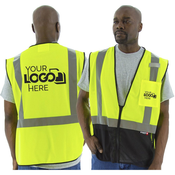 Majestic Class 2 Hi Vis Yellow Black Bottom Mesh Safety Vest 75-3213 Back with Printing Areas