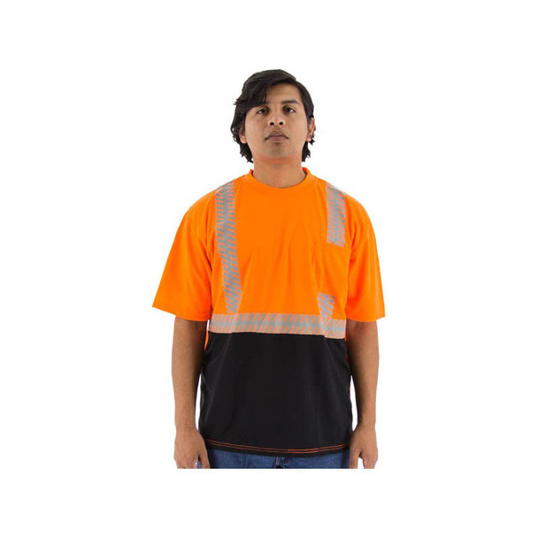 Majestic Class 2 Hi Vis Orange Black Bottom T-Shirt with Chainsaw Striping 75-5216 Front