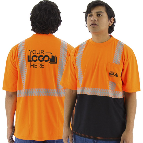 Majestic Class 2 Hi Vis Orange Black Bottom T-Shirt with Chainsaw Striping 75-5216 Back with Printing Areas