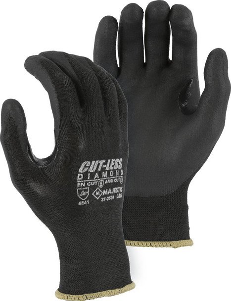 Box of 12 Pair Majestic A3 Cut Level Black Seamless Knit Nitrile Palm Gloves 37-3565