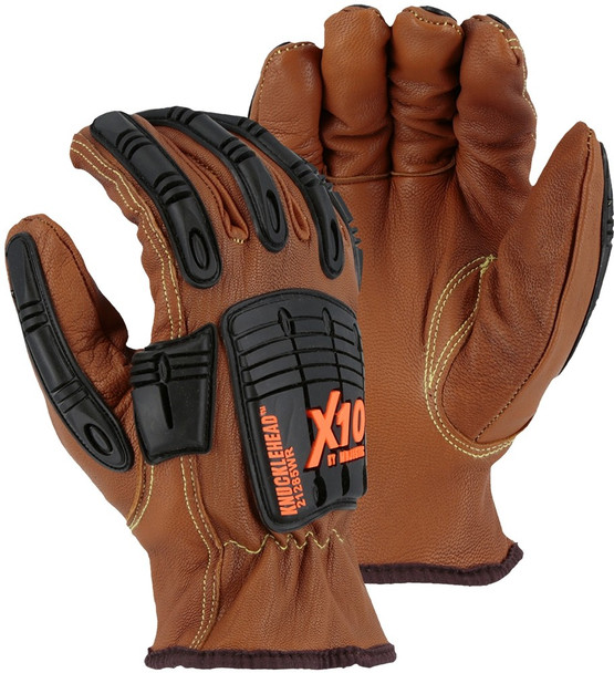 Box of 12 Pair Majestic FR A4 Cut Level Kevlar Goatskin Impact Protection Gloves 21285WR