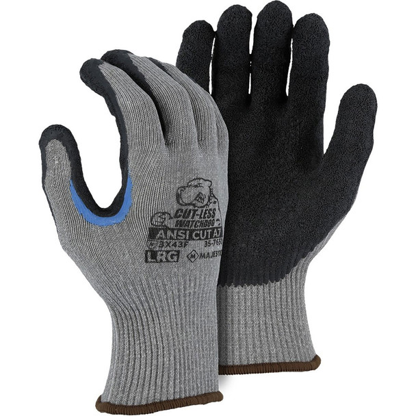Case of 120 Pair Majestic A7 Cut Level Watchdog Gloves with Crinkle Latex Palm 35-7650