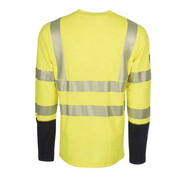 DragonWear FR Class 3 Hi Vis Yellow with Segmented Tape Moisture Wicking Long Sleeve DFH04 Back