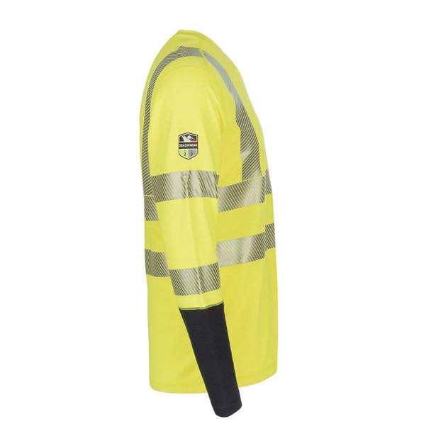 DragonWear FR Class 3 Hi Vis Yellow with Segmented Tape Moisture Wicking Long Sleeve DFH04 Side