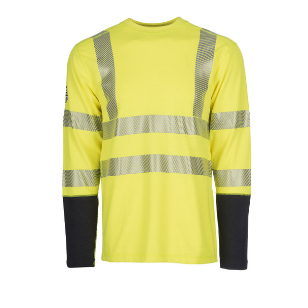 DragonWear FR Class 3 Hi Vis Yellow with Segmented Tape Moisture Wicking Long Sleeve DFH04 Front