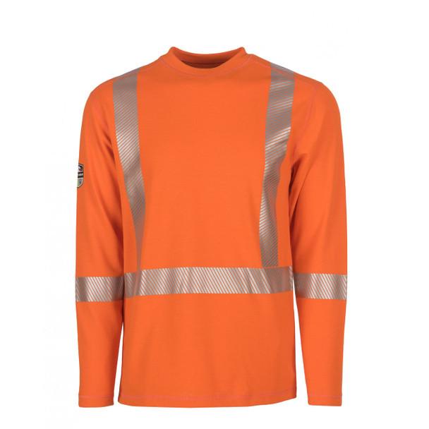 DragonWear FR Class 3 Hi Vis X-Back Segmented Tape Moisture Wicking Orange Shirt DFH05 Front