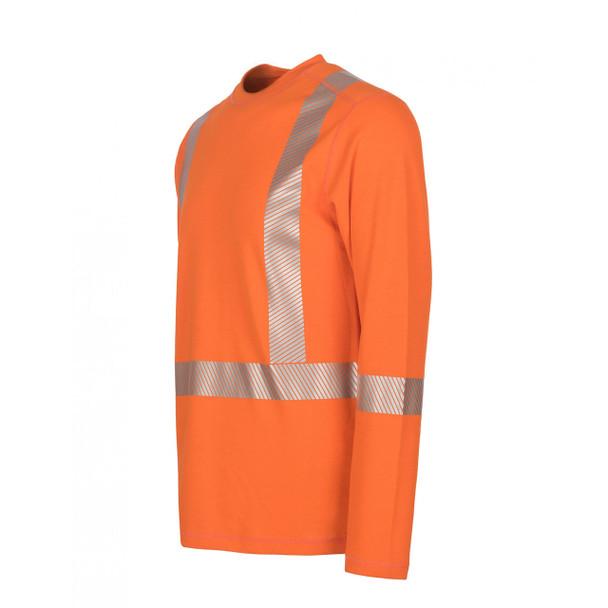 DragonWear FR Class 3 Hi Vis X-Back Segmented Tape Moisture Wicking Orange Shirt DFH05 Left