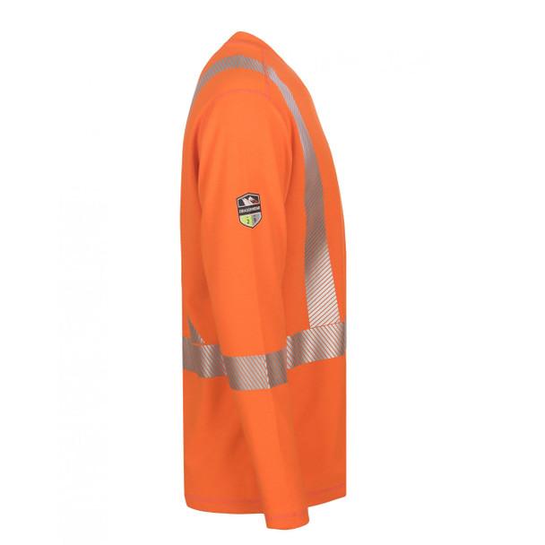 DragonWear FR Class 3 Hi Vis X-Back Segmented Tape Moisture Wicking Orange Shirt DFH05 Right