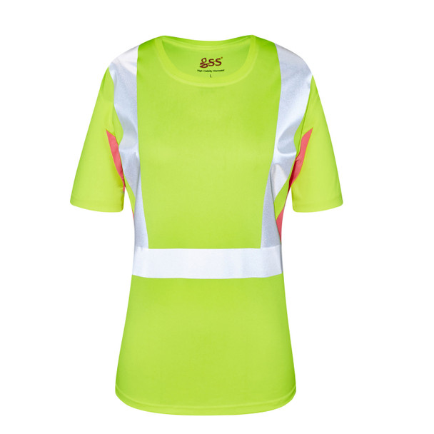 GSS Class 2 Hi Vis Lime with Pink Trim Sides Ladies T-Shirt 5125 Front