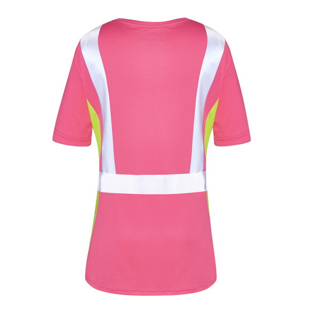 GSS Non-ANSI Hi Vis Pink with Lime Trim Sides Ladies T-Shirt 5126 Back