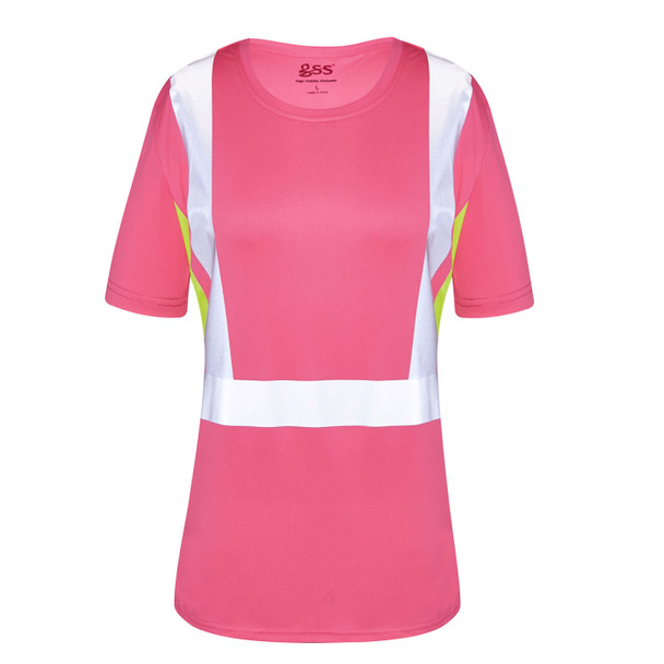 GSS Non-ANSI Hi Vis Pink with Lime Trim Sides Ladies T-Shirt 5126 Front