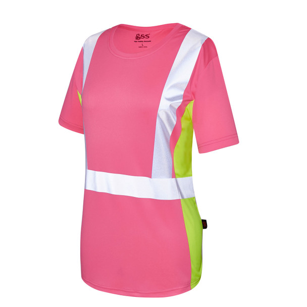 GSS Non-ANSI Hi Vis Pink with Lime Trim Sides Ladies T-Shirt 5126 Left Side