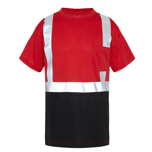 GSS Non-ANSI Hi Vis Reflective Red with Black Bottom T-Shirt 5124 Front