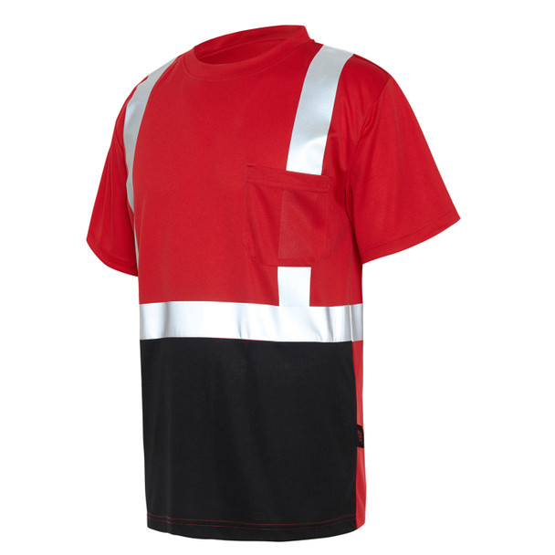 GSS Non-ANSI Hi Vis Reflective Red with Black Bottom T-Shirt 5124 Left Side