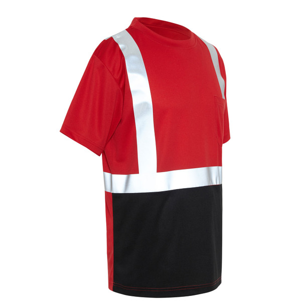 GSS Non-ANSI Hi Vis Reflective Red with Black Bottom T-Shirt 5124 Right Side
