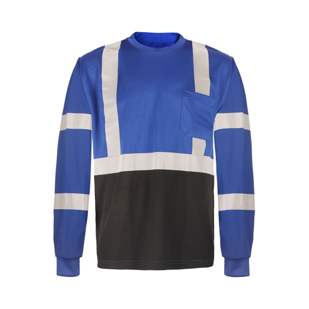 GSS Non-ANSI Hi Vis Reflective Blue with Black Bottom Long Sleeve T-Shirt 5133 Front