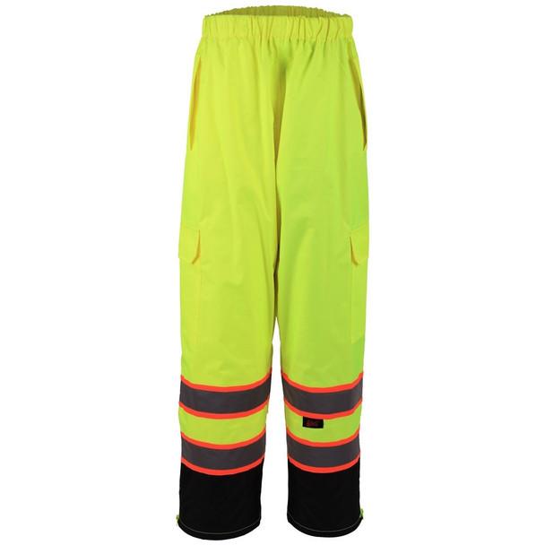 GSS Class E Two-Tone Hi Vis Lime Black Bottom Rain Pants 6715 Front
