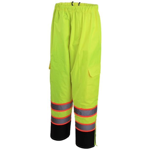 GSS Class E Two-Tone Hi Vis Lime Black Bottom Rain Pants 6715 Back