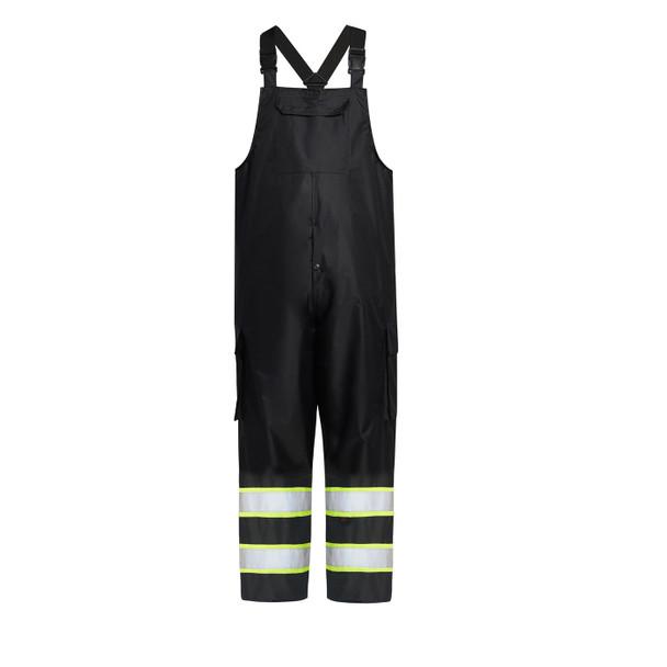 GSS Enhanced Visibility Black Rain Bib Pants 6809 Front