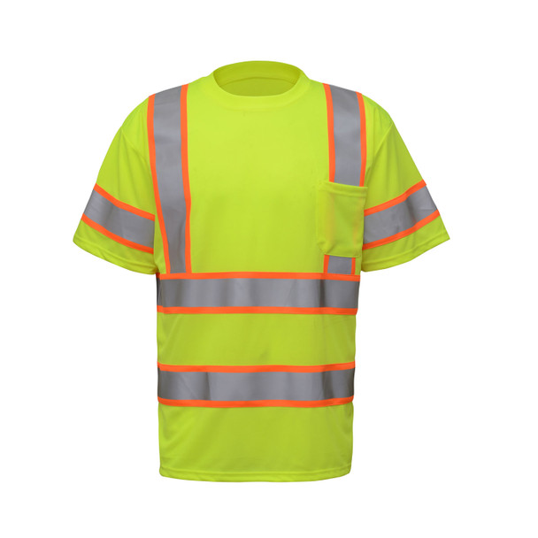 GSS Class 3 Hi Vis Lime Two-Tone Reflective T-Shirt with Chest Pocket 5009 Front