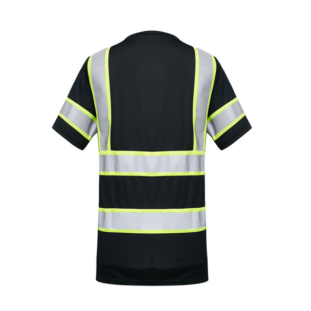 GSS Enhanced Visibility Black Two-Tone Reflective T-Shirt with Chest Pocket 5011 Back