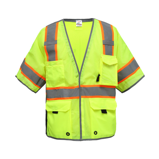 GSS Class 3 Hi Vis Lime Two Tone Breakaway Mesh Safety Vest 2705