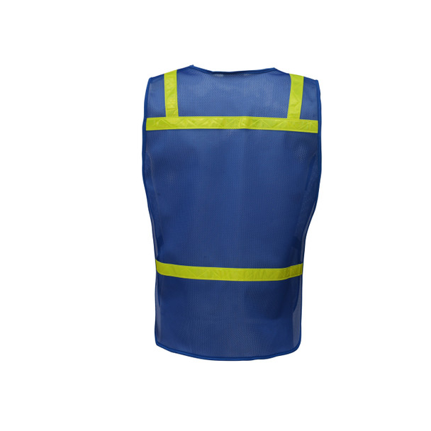GSS Non-ANSI Enhanced Visibility Blue Mesh Economy Safety Vest 3123 Back