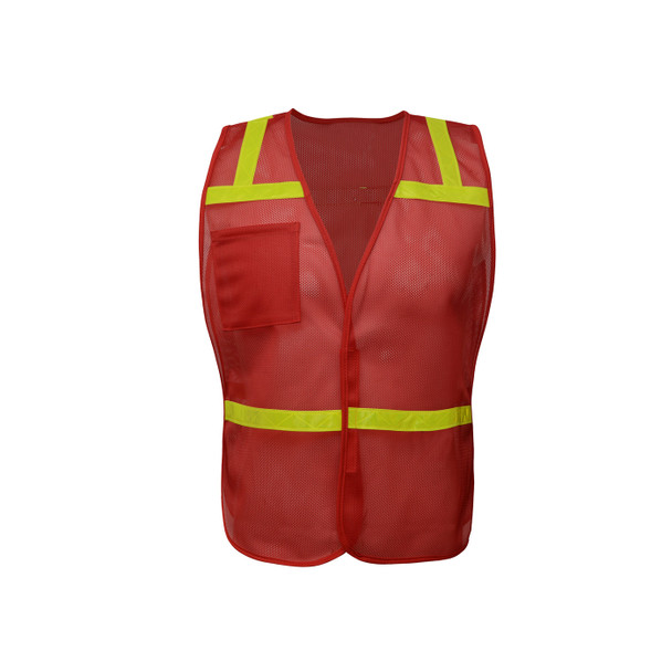 GSS Non-ANSI Enhanced Visibility Red Mesh Economy Safety Vest 3124 Front