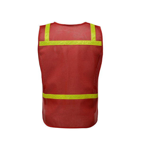 GSS Non-ANSI Enhanced Visibility Red Mesh Economy Safety Vest 3124 Back