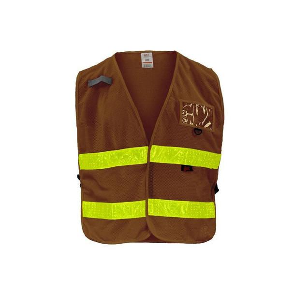 GSS Non-ANSI Enhanced Visibility Brown Adjustable Mesh Safety Vest 4111
