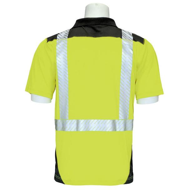ERB Class 2 Hi Vis Short Sleeve Polo Shirt with Segmented Tape and Black Bottom 9100SBSEG Lime Back