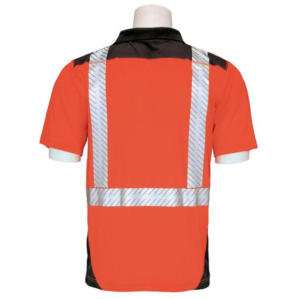 ERB Class 2 Hi Vis Short Sleeve Polo Shirt with Segmented Tape and Black Bottom 9100SBSEG Orange Back