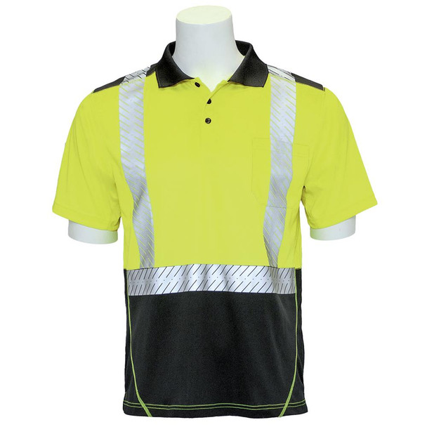 ERB Class 2 Hi Vis Short Sleeve Polo Shirt with Segmented Tape and Black Bottom 9100SBSEG Lime Front