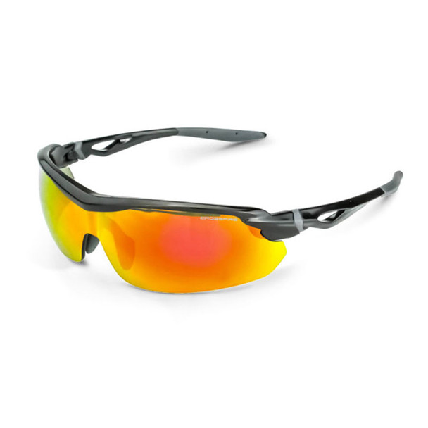 Crossfire Cirrus Black Half-Frame Red Mirror Lens Safety Glasses 3968 - Box of 12