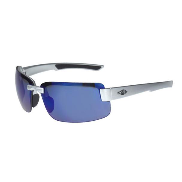 Crossfire ES6 Silver Gloss Half-Frame Blue Mirror Lens 442208 - Box of 12