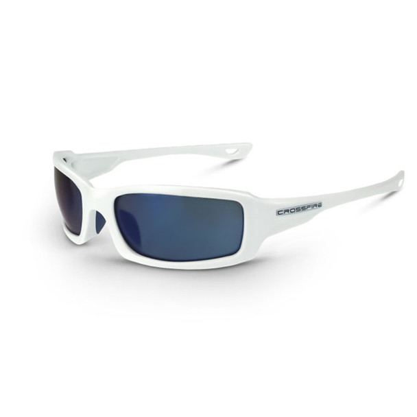 Crossfire M6A White Frame Blue Mirror Lens Safety Glasses 20278 - Box of 12