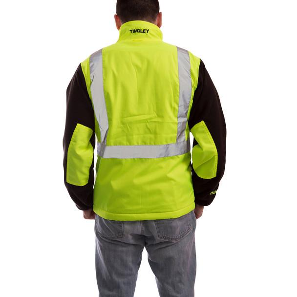 Tingley Class 2 Hi Vis Yellow Black Bottom Phase 2 Jacket J73022 Back