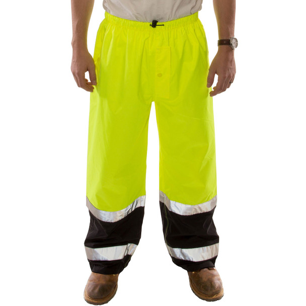 Tingley Class E Hi Vis Yellow Black Bottom Icon LTE Rain Pants P27122 Front
