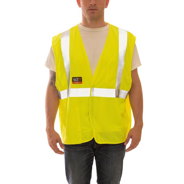 Tingley FR Class 2 Hi Vis Yellow Job Sight Mesh Safety Vest V80622 Front