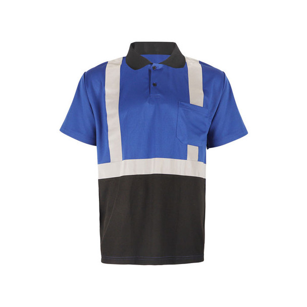 GSS Non-ANSI Enhanced Visibility Blue Black Bottom Short Sleeve Polo 5023 Front