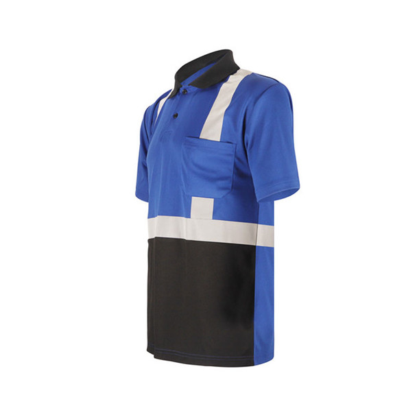 GSS Non-ANSI Enhanced Visibility Blue Black Bottom Short Sleeve Polo 5023 Left Side